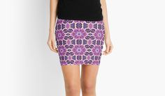 Purple Pink White Fractal Art Pattern Skirt