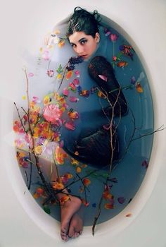 Girl In Bathtub of water & Flowers❤️