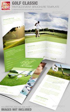 Golf Tournament Tri Fold Brochure Template Design Branding Ideas - Golf brochure templates
