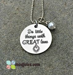 Do Little Things with Great Love Engraved Necklace