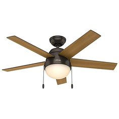 Hunter 59265 Contemporary Anslee Premier Bronze Ceiling Fan With Light, 46""