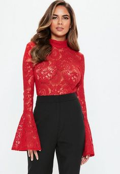 Missguided has the fiercest collection of affordable, coveted tops in the fashion universe. From crop tops & camis to shirts & bodysuits - just take a look! Cami Crop Top, Crop Tops, Red High, Lace Bodysuit, Winter Fashion Outfits, Plus Size Tops, Casual Looks, Bell Sleeve Top, Topshop