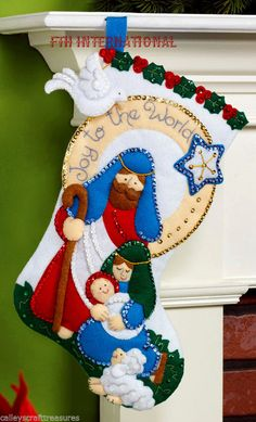 "Bucilla Joy To The World ~ 16"" Felt Christmas Stocking Kit #86482 Nativity Scene"