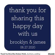 Thank You Navy Blue Modern Wedding Stickers