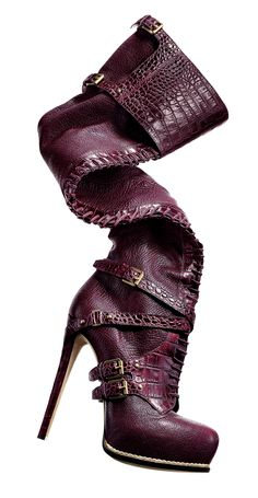 DIOR  Bordeaux leather over-the-knee boot with embossed crocodile detail, 5″ heel with platform, in sizes 5–12. $1,800. Also available in petrol blue