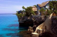 The Caves - Negril, Jamaica.  So lucky to have stayed here - top floor of that lovely blue house (called Butterfly House).  Wish I were there right now...