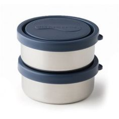 Our stainless steel set of 2 small round containers are a reusable & non-toxic alternative to plastic. Includes BPA-free lids in ocean. Stainless Steel Containers, Container Shop, Boite A Lunch, Small Meals, Food Storage Containers, Food Grade, Raisin, Ocean, Kids