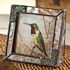 Use the insert as your photo or replace with your own photo! Hummingbird Glass Photo Frame - Oceania, Green With Filigree Overlay, J. Devlin Pic 352-33