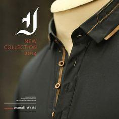 Ismail Farid Kurtas Collection 2014 for Men Eid Fashion Mens Shalwar Kameez, Kurta Men, Designer Suits For Men, Designer Clothes For Men, Men Fashion Photo, Men's Fashion, Terno Casual, Black Casual Shirt, Boys Kurta Design