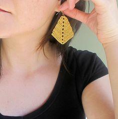 Rhombus Crocheted Earrings Bronze Metallic Bohemian
