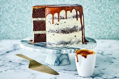 Chocolate cake? Check. Cookie dough frosting? Check. Oozy caramel drizzle? Check. It doesn't get much better does it?