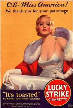 1931 Ad for Lucky Strike #vintage #ad #advertisement #print #cigarettes #glamour #marcelled #hair #smoking #miss #america