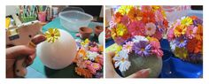 Como fazer Topiarias de flores de cartolina coloridas – PAP – Inspire sua Festa ®
