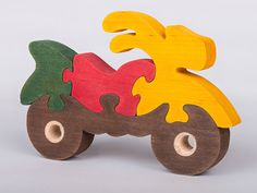 Puzzle wooden motorcycle