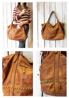 "Handmade Italian Brown Leather Messenger Bag ""MULTI TASC  2"" di LaSellerieLimited su Etsy"