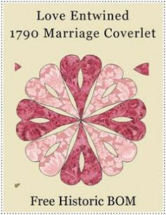 Esther's Blog: Love Entwined: 1790 Marriage Coverlet BOM; if I ever finish Dear Jane Quilt Patterns Free, Applique Patterns, Applique Quilts, Block Patterns, Heart Patterns, Applique Designs, Free Pattern, Clamshell Quilt, Hexagon Quilt