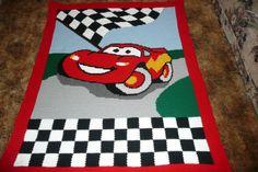 Disney ---CARS-- Crocheted Afghan Afghans Throw Blanket   ---Racing to you---So Cute--. $145.00, via Etsy.