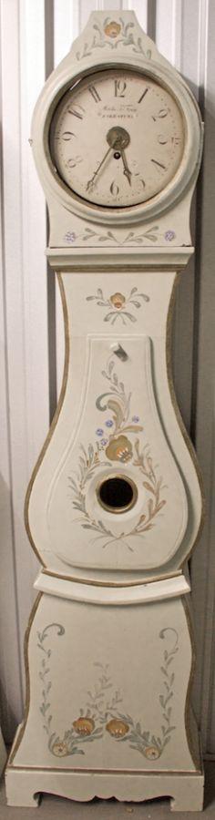 190cm 'martin fren' 1800s antique swedish mora clock with folk art design in white.jpg