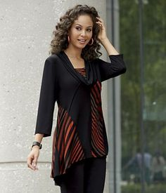 Slimming Panel Tunic from Monroe and Main.  Cleverly placed seams and areas of black create leaner, curvier silhouettes.