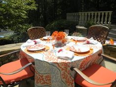 A Toile Tale: Alfresco Dining - Two Tables with Coral