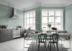 RESONANCE, our Spring-Summer 2018 hue: relaxing and delicate, with acc . Dining Room Paint, Decoration Piece, Home Accents, Green And Grey, Hue, New Homes, Relax, Pastel, Spring Summer