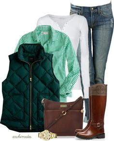 cute Fall outfit. boots, jeans, green button down, vest
