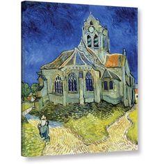 ArtWall Vincent van Gogh The Church at Auvers Wrapped Canvas Art, Size: 14 x 18, Blue