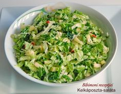 Rendkívül finom és egészséges kelkáposzta-saláta Diabetic Recipes, Diet Recipes, Recipies, Healthy Recipes, Cold Dishes, Lettuce, Potato Salad, Cabbage, Vitamins