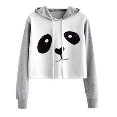 Womens Long Sleeve Crop Top Hoodies Bear Cat Ear Lumbar Hoodie Pullover Sweater