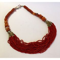 Vintage Faux Multistrand Coral, Carnelian, and Agate Necklace ($29) ❤ liked on Polyvore featuring jewelry, necklaces, artificial jewellery, layered chain necklace, coral necklaces, vintage coral necklace and agate necklace