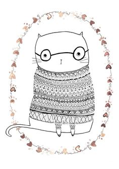 nerd kitty in a fair isle sweater