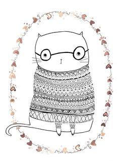 nerd kitty in a fair isle sweater