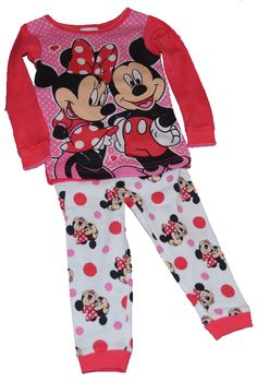 Disney Mickey and Minnie Mouse Polka Dot Baby Toddler Girl Tight-fit Pajamas