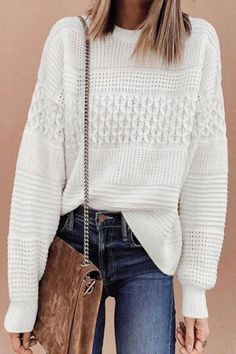 INS8 Knit Sweater Outfit, White Knit Sweater, Cool Outfits, Fashion Outfits, Womens Fashion, Fashion Clothes, Online Shopping Clothes, Pullover, Casual Dresses For Women