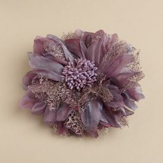 """Our Antique Violet organza flower hair clip is 5 1/4"""" round with accents of taupe lace & a hint of sparkle. Add couture style to your prom, bridesmaids or wedding party hairdo with this light purple hair flower. It also has a pin to wear as a brooch"""
