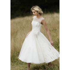 Vintage White Sleeveless Satin Organza Wedding Dress - Star Bridal Apparel