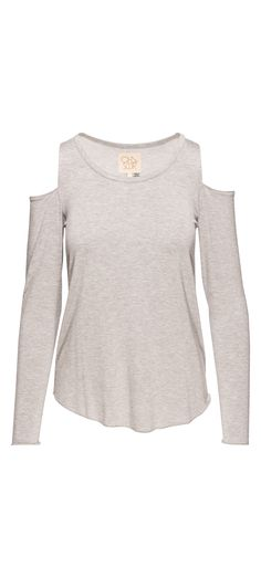 Chaser Long Sleeve Shirttail Cold Shoulder Tee in Heather Grey / Manage Products / Catalog / Magento Admin
