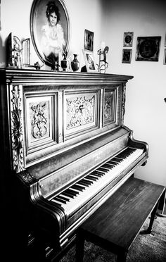 1895 Ludwig Piano Antiques, music, instruments, black and white. by Heather Croxton