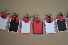 Ladybug Sparkle Photo Banner for Birthday Party, First Birthday, Parties and MORE - 12 frame w/ detachable favor clips Birthday Charts, Baby Birthday, First Birthday Parties, First Birthdays, Ladybug 1st Birthdays, Birthday Clips, Ladybug Party, Ladybug Cake Pops, Preschool Crafts