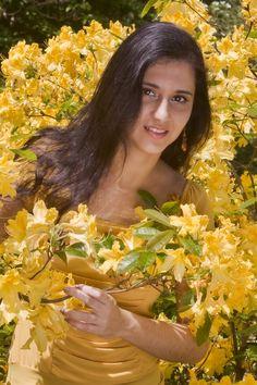 Yellow dress + flowers