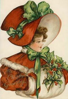 bumble button: Antique postcards of Charming Children in Red Christmas Coats Free Clip arts