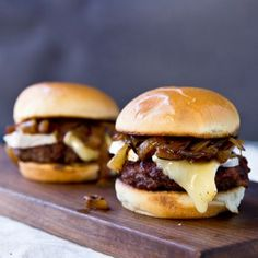 Sliders with Beer Glazed Onions and Brie