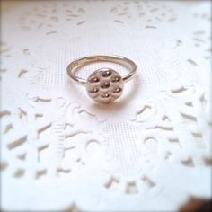 7 disk sterling silver ring