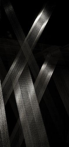 Lygia Pape: Ttéia 1C, 2001/2016. Silver thread, wood, nails, light. Hauser & Wirth London, 2016.