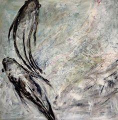 3 Kois Acryl auf Leinwand 100 x 100 cm