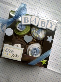 great for new baby gifts or baby showers Baby Shower Crafts, Baby Crafts, Baby Shower Parties, Shower Gifts, Baby Shower Decorations, Baby Showers, Baby Boy Cupcakes, Cupcakes For Boys, Newborn Baby Gifts