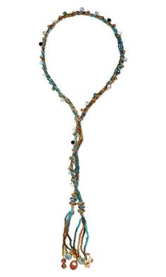 Jewelry Design - Lariat-Style Necklace with Swarovski Crystal, Dione®️️ Large-Hole Beads, Fire Crackle Agate Gemstone Beads and Braided Satin Cord - Fire Mountain Gems and Beads