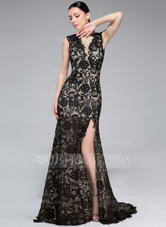 Trumpet/Mermaid Scoop Neck Sweep Train Tulle Lace Evening Dress With Beading Split Front (017041104) - JJsHouse