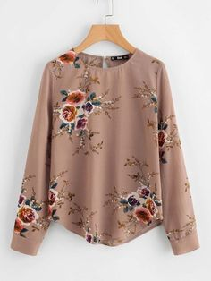 Shop Flower Print Keyhole Back Curved Hem Blouse online. SheIn offers Flower Print Keyhole Back Curved Hem Blouse & more to fit your fashionable needs. Floral Tops, Floral Blouse, Frill Blouse, Collar Blouse, Embroidered Blouse, Spring Shirts, Mode Hijab, Look Cool, Blouse Designs