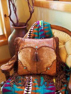 "Items similar to Western leather pillow 16 X 16 vintage style tan tooled leather palomino cowhide ""cowboy boot"" design turquoise STARGAZER MERCANTILE on Etsy Southwest Decor, Southwestern Decorating, Southwest Style, Turquoise Throw Pillows, Santa Fe Style, Western Furniture, Leather Tooling, Tooled Leather, Leather Bag"